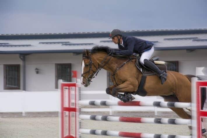 Jeździec na koniu przeskakuje przeszkodę