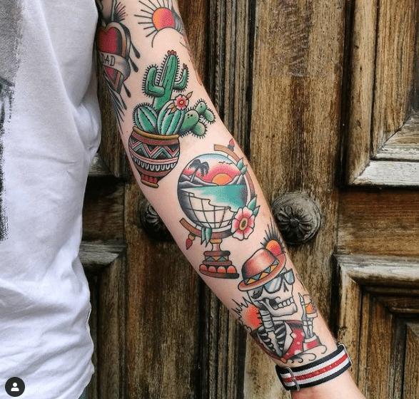 tatuaże na ręce w motywie oldcshool