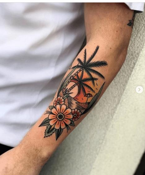 Tatuaż na ręce u mężczyzny