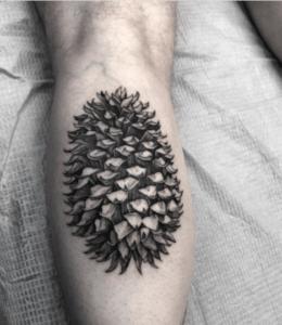 Tatuaż szyszka na nodze