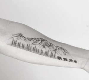 Tatuaż góry pejzaż