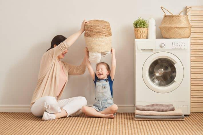Pomieszczenie na pralkę w domu.